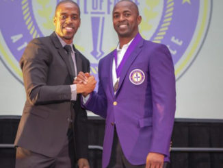 SCSU's Dwayne Harper (right) and his younger bother Deveron Harper who presented to former at Thursday's MEAC Hall of Fame Induction. (Photo by: Mark Sutton)