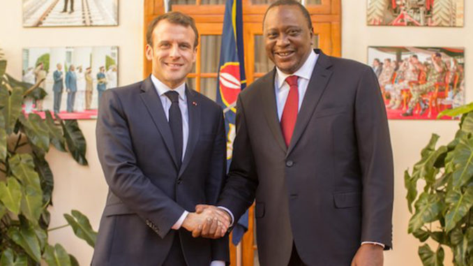 French President Emmanuel Macron and Kenyan President Uhuru Kenyatta. (Photo by: Global Information Network)