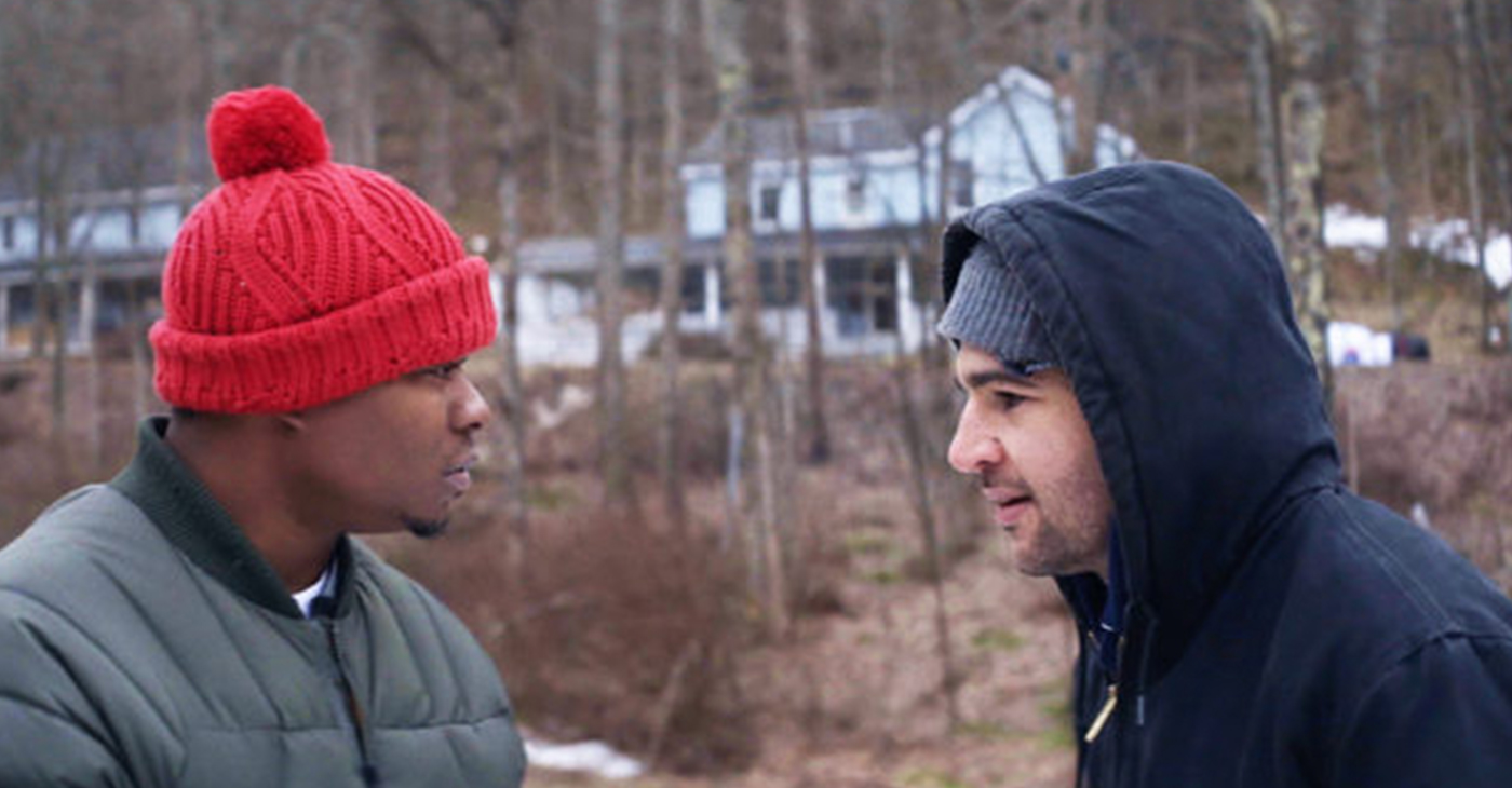 "JASON MITCHELL AS Tyler and Christopher Abbott as Johnny have a few words during a scene from the movie ""Tyrel."""