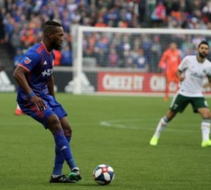 FC Cincinnati's Kendall Watson scored the first goal in the home opener against Portland Timbers. (Photo by: Michael Mitchell)