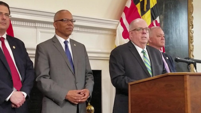 Maryland Gov. Larry Hogan speaks during a March 18 press conference in Annapolis on the state's fiscal 2020 budget. (William J. Ford/The Washington Informer)