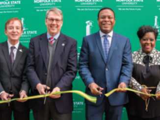 Norfolk Mayor Kenneth Alexander (center) leads NSU and Norfolk CIty officials in historic ribbon cutting (Photo by: NSU)