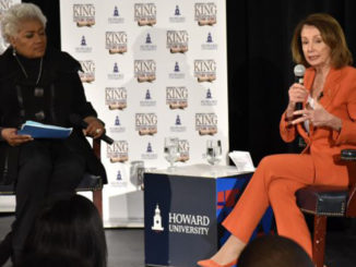 Former Democratic National Committee Chair Donna Brazile moderated a discussion with Speaker of the House Nancy Pelosi at Howard University's School of Business on Feb. 27. (Photo by Rob Roberts)