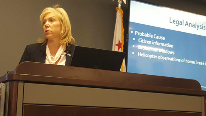 Sacramento County District Attorney Anne Marie Schubert discusses the findings of her department in front of reporters. Ms. Schubert has decided not to file charges against the two officers who killed unarmed Stephon Clark on March 18, 2018. (OBSERVER photo by Antonio R. Harvey)