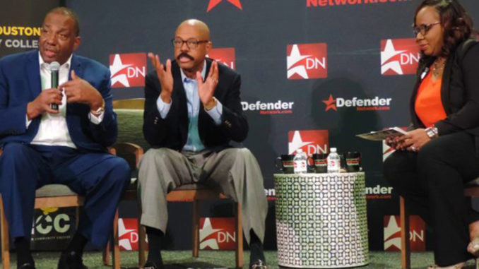 Conversation with Senator Royce West (lfar left) and Senator Borris L. Miles (center) with the Houston Defender. (Photo by: defendernetwork.com)