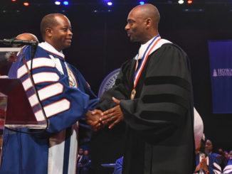 Charles D. King, is pictured along with Howard University President Wayne A.I. Frederick/Courtesy Howard University