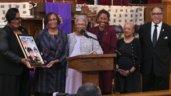 """My mother wrote a column called 'If you asked me,' so I believe if my mother was here today she would say, 'if you asked me, it's certainly a privilege to be honored by the National Newspaper Publishers Association,'"" said the Rev. Dr. Toni Draper, Murphy's daughter, who accepted the enshrinement on her late mother's behalf. ""I think she'd say that 'I'm grateful that I'm chosen for this honor and even more grateful that I'm chosen on this platform with the honorable Marcus Garvey,"" Draper said."
