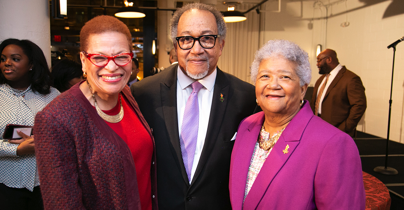Attending the Annual Congressional Black Caucus Foundation Avoice Heritage Celebration are (left to right:) Julianne Malveaux, Dr. Benjamin F. Chavis, Jr. President and CEO of the National Newspaper Publishers Association (NNPA) and Dorothy R. Leavell, NNPA Chairman of the board and Publisher of the Chicago and Gary Crusader Newspapers.