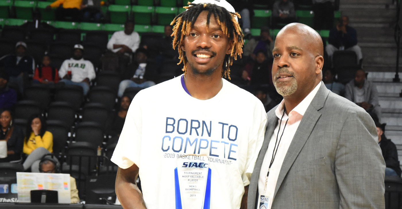 LaByron Harris is presented with the MVP award/Courtesy Miles College