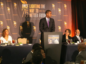 Pictured from left to right: Rev. Dr. Bernard L. Richardson, Dean of Rankin Memorial Chapel Howard University; Dr. Roslyn Clark Artis, President of Benedict College; attorney and CNN political analyst Bakari Sellers (standing); Dr. Beverly Wade Hogan, President of Tougoloo College; UNCF President and CEO Dr. Michael L. Lomax; Bennett College President Dr. Phyllis Worthy Dawkins; (Photos by Mark Mahoney / Dream in Color Photography for NNPA)