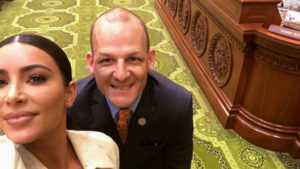 Kim Kardashian West visits CA State Capitol in January to lobby for prison reform and takes a selfie with CLBC Assemblymember Kevin McCarty (D-Sacramento).