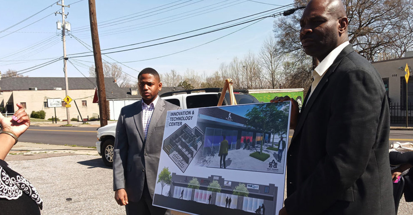 BraveDog co-founders Isiah Reese (right) and Dustin Mack have a positive vision of what's ahead for the BraveDog Innovation Center in Soulsville. (Photo: Dr. Sybil C. Mitchell)