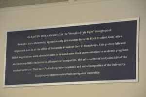 This plaque, unveiled at the University of Memphis administration building on April 12, commemorates the 1969 sit-in protest that prompted 109 arrests. (Photos: Tyrone P. Easley)