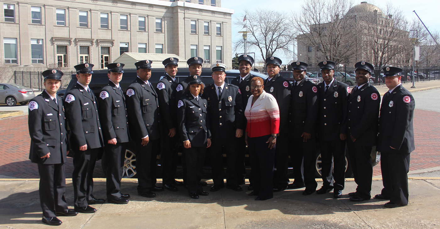 After Adding Several New fire engines, the city of Gary recently added 13 newly trained firefighters to the department. Gary Mayor Karen Freeman Wilson and Fire Chief Paul Bradley are pictured with the 12 men and one woman graduate after their formal graduation ceremony at the Genesis Center on April 2, 2019.