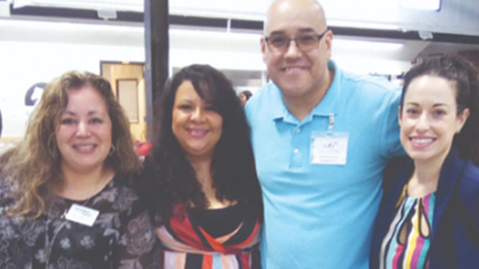 """The Latino Business Board was behind the well-attended event, """"The Second Annual Latinos in Business Expo,"""" held Sunday afternoon at Newburgh's Armory. From left are Board Members; Martha Barrera of Walden Savings Bank; Sandra Salguero of Superior Mortgage; Richard Narvaez of Principal Financial and Gisela Gomez of M & T Bank."""