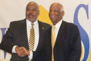 Alabama State President Dr. Quinton Ross Jr. (left) and Lawson State President Dr. Perry Ward announce memorandum of understanding between the two institutions. (Ameera Steward Photo, The Birmingham Times)