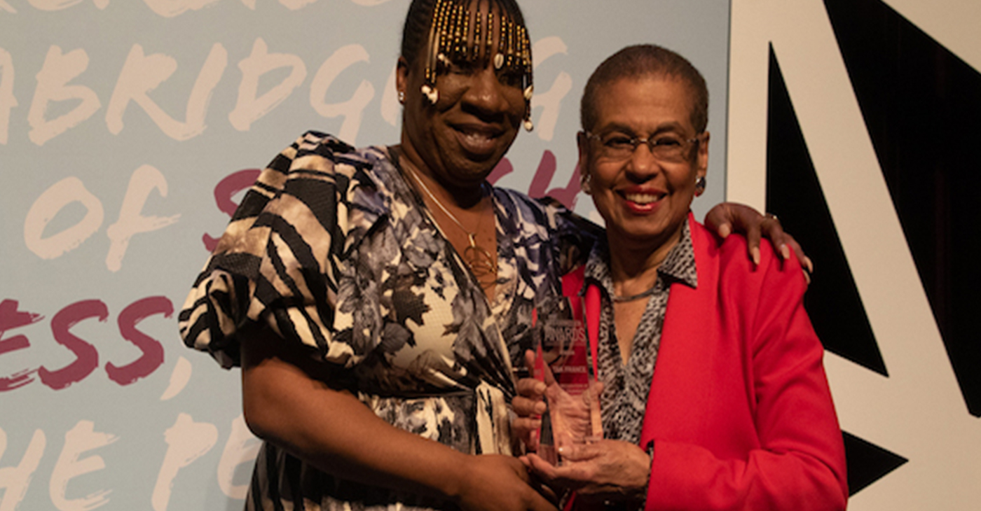 D.C. Del. Eleanor Holmes Norton and #MeToo movement founder Tarana J. Burke embrace at the fourth annual First Expressions Awards at the Newseum in D.C. on April 4. (Photo by: Shevry Lassiter/The Washington Informer)