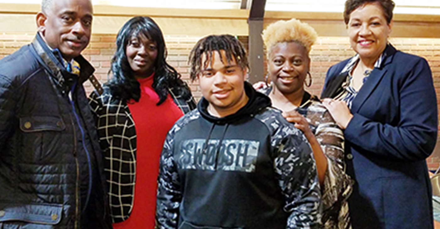 Pastor Daryl Arnold, Wraquel Brown, T'zion Fears-Perez, Lakeisha Fears-Perez, and Ronni Chandler, Executive Director, Project GRAD. (Photo submitted)