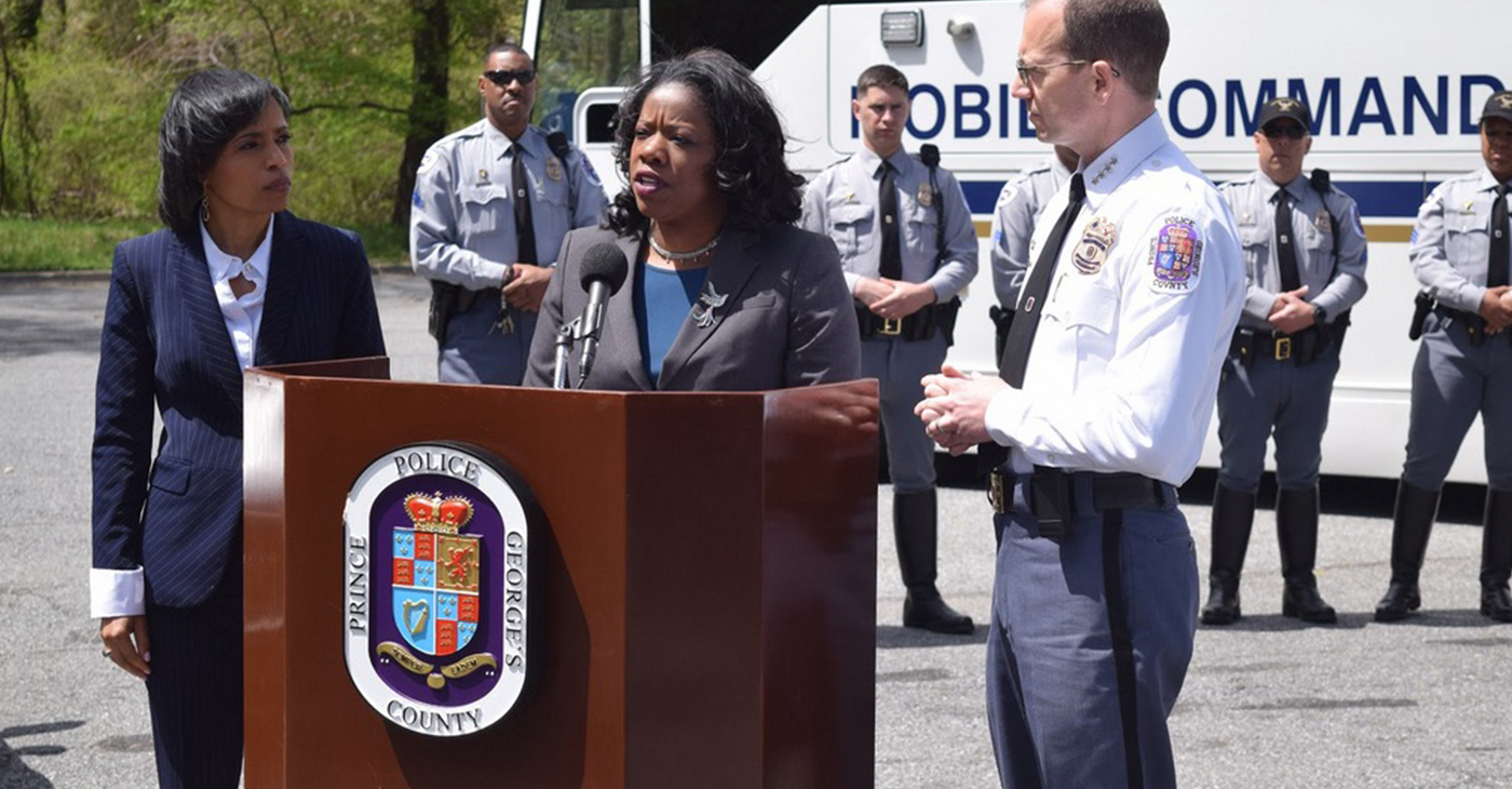 Prince George's County Executive Angela Alsobrooks, State's Attorney Aisha Braveyboy and Police Chief Hank Stawinksi are working to enforce driver safety for the community. (Photo by Mark Gray)