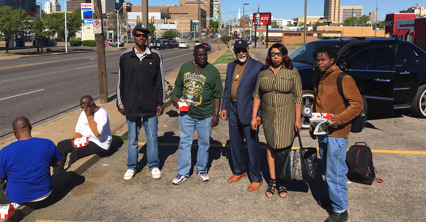 "Heeding a call to feed ""the last, the least and the lost,"" Gray (third from right) delivered dozens of meals to people with no place to call home. (Courtesy photos)"