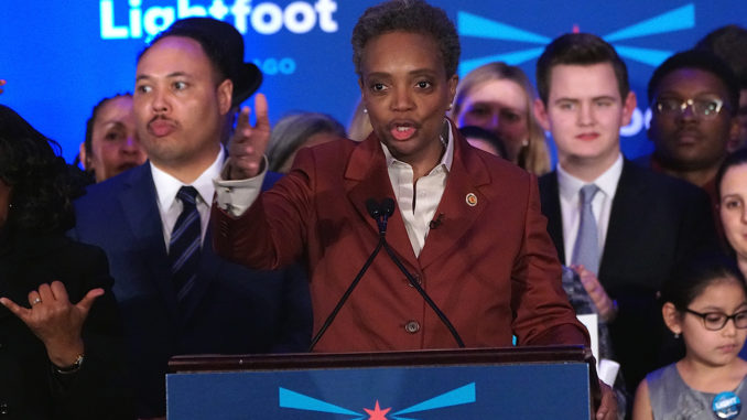 After her landslide victory, Lori Lightfoot speaks to her supporters as the Chicago's first Black female mayor.