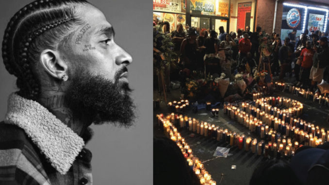 Hussle's memorial service took place on April 11 at the Staples Center in Los Angeles. Over 21,000 free tickets to the service sold out in less than an hour. Hussle's longtime partner was the actress Lauren London, who he began dating in 2013. (vigil photo Brandon I. Brooks, Los Angeles Sentinel)