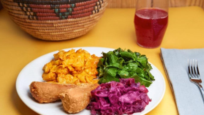 A plate of vegan soul food from A Peace of Soul Vegan Kitchen. Photo credit: Folami Geter