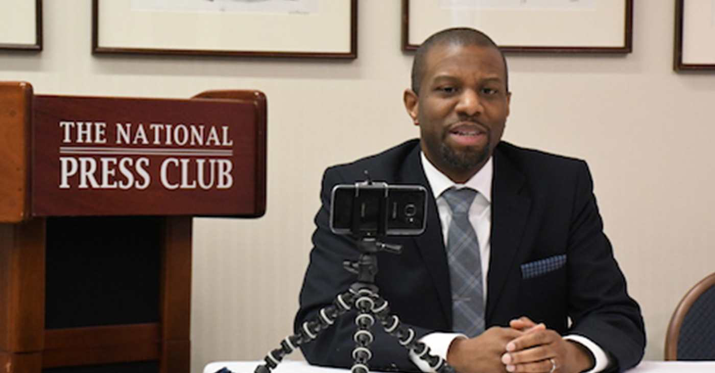 "Ivory Toldson, author of ""No BS (Bad Stats): Black People Need People Who Believe in Black People Enough Not to Believe Every Bad Thing They Hear about Black People,"" speaks during an event at the National Press Club in northwest D.C. on Feb. 25. (Roy Lewis/The Washington Informer)"
