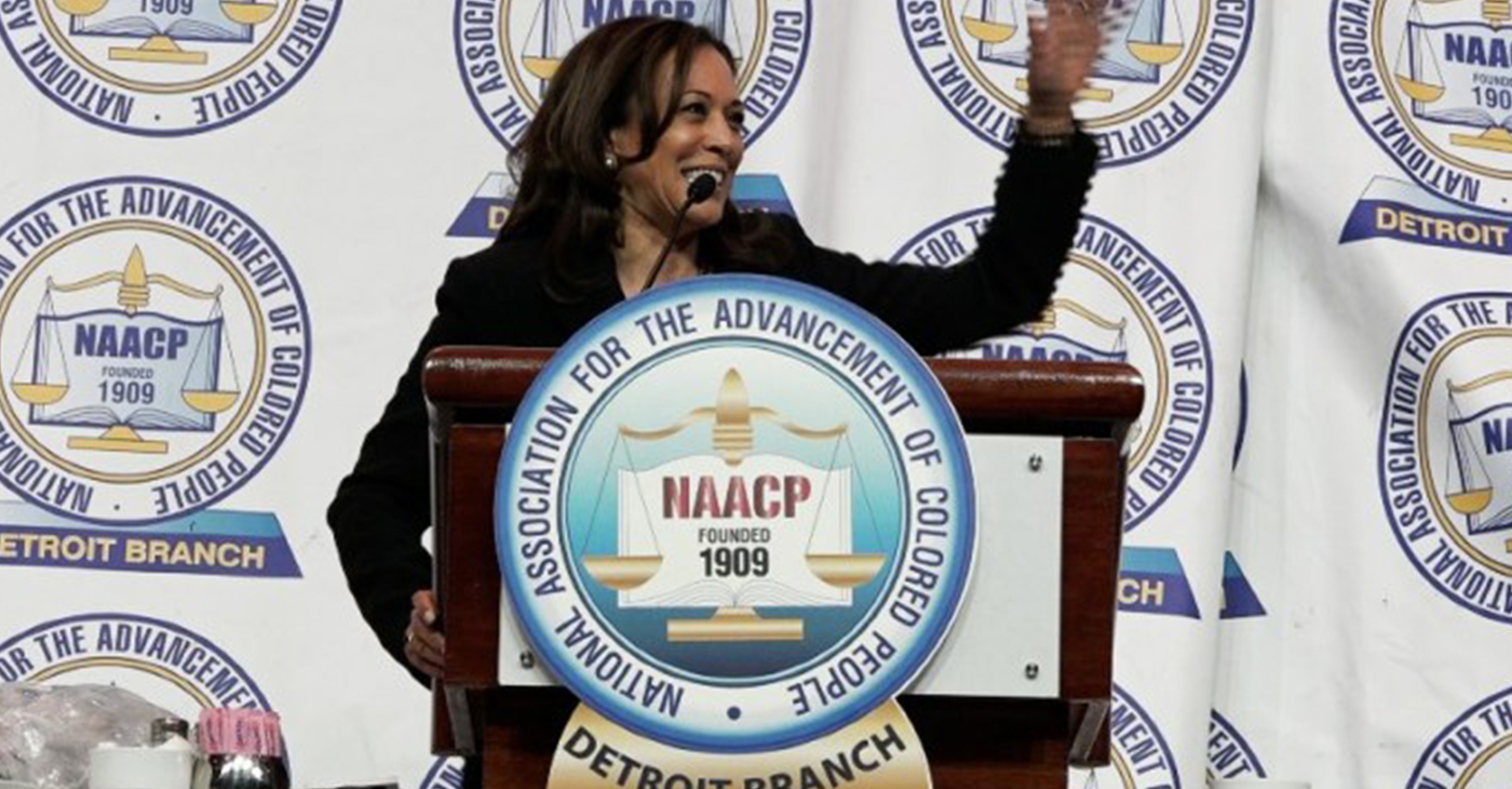 California Sen. Kamala Harris, the 2020 presidential candidate now polling second, whose parents are West Indian and East Indian – her father Jamaican and her mother from India – delivers the keynote speech at the Detroit NAACP Fight for Freedom Fund dinner on May 5. The Detroit NAACP is the nation's largest branch and one of the oldest, chartered in 1912. – (Photo by: Claudette de la Haye)