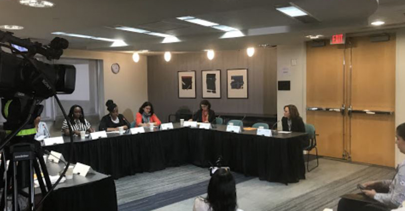 (L-R) Eboni Taylor, Danielle Atkinson, Rep Tlaib, Kelli Garcia and Sen. Kamala Harris were some of the panelists at the Mothering Justice forum. (Courtesy Photo)