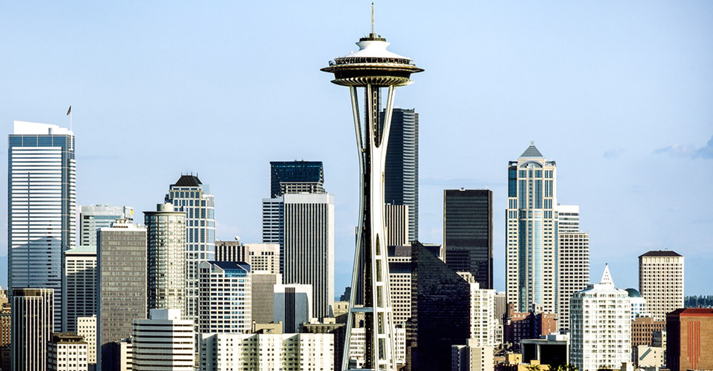 Seattle skyline featuring the Space Needle. Original image from Carol M. Highsmith, Library of Congress collection.