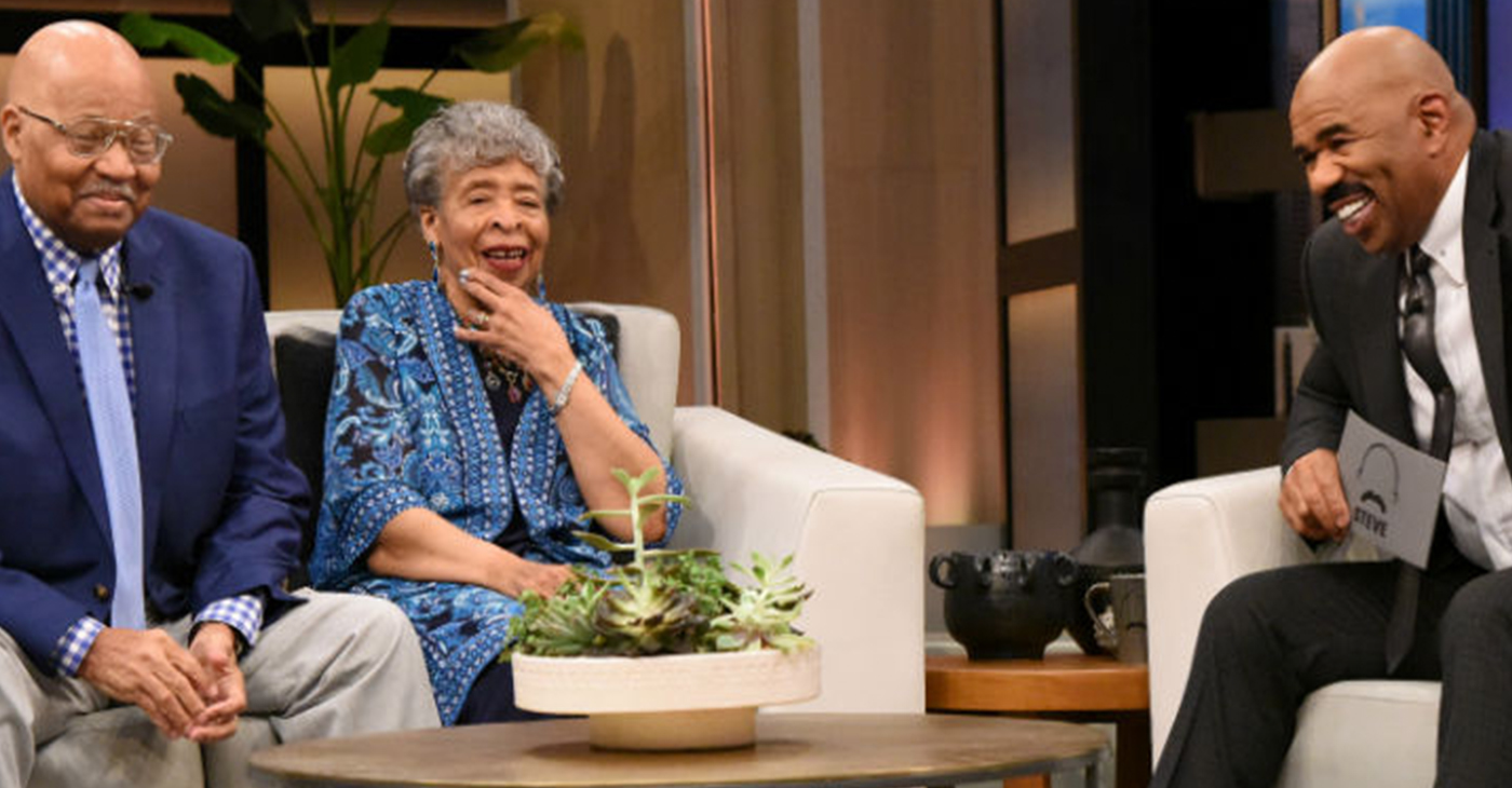 """Bob and Shirley Johnson of Cincinnati are shown at the taping last week of """"The Steve Harvey Show"""" in Los Angeles. They can be seen at 3 p.m. on Thursday, May 16, on WLWT Channel 5 in Cincinnati. Photo provided"""