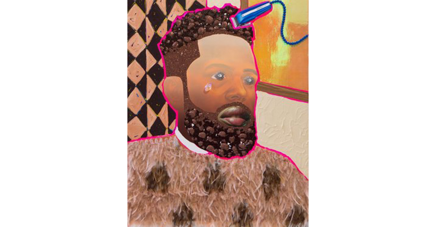 """Mighty Mighty"" art installation by Devan Shimoyama is the centerpiece of ""The Barbershop Project,"" at the THEARC. This piece is called ""Bobby."" (Courtesy Photo)"