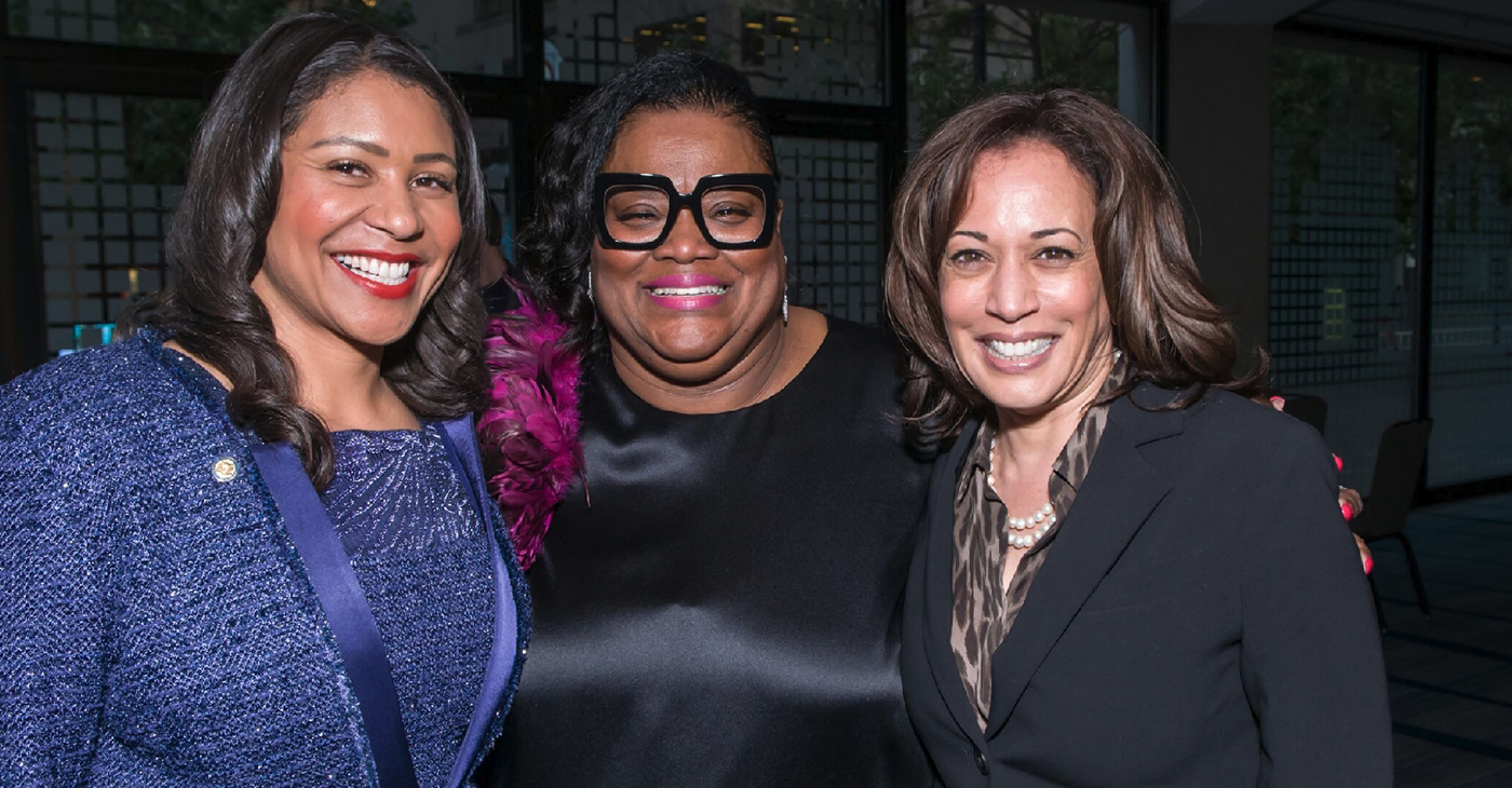 """I was able to put the paper behind young African American women who wanted to ascend to power and help lead in a political way to make our communities and the world better,"" said Sun Reporter Publisher Amelia Ashley Ward (center), accompanied by San Francisco Mayor London Breed (left) and U.S. Senator Kamala Harris (D-CA)."