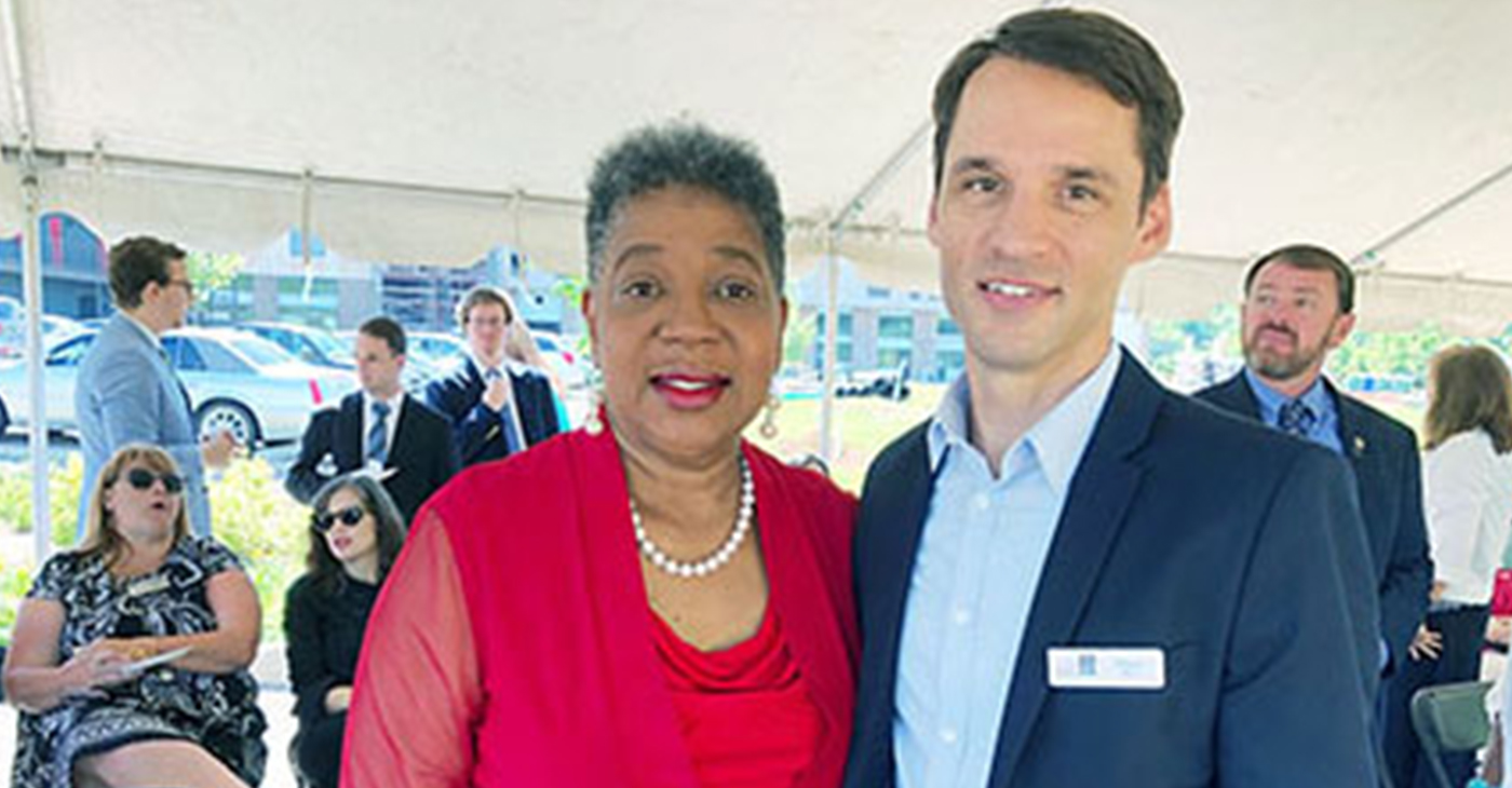 Brent Elrod, Director of Planning and Development for Urban Housing Solutions and State Senator Brenda Gilmore were featured speakers at the groundbreaking for a new housing for seniors with low-to-moderate incomes. Photo by Clare Bratten