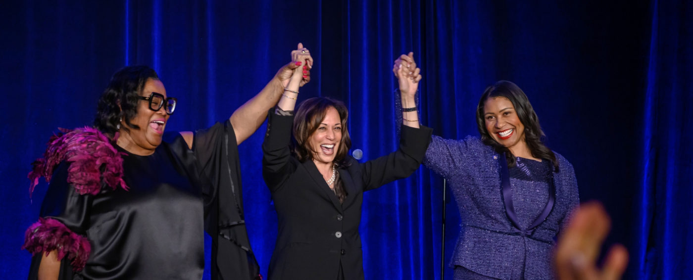 """We can tell the stories that connect our communities and people who want to talk to our communities know they have to use the Black Press to do so,"" said Sun Reporter Publisher Amelia Ashley Ward, adding that she doesn't take for granted that the paper is still in business. Accompanying Ward (left) in this photo are U.S. Senator Kamala Harris (D-CA) (center) and London Breed, Mayor of San Francisco."
