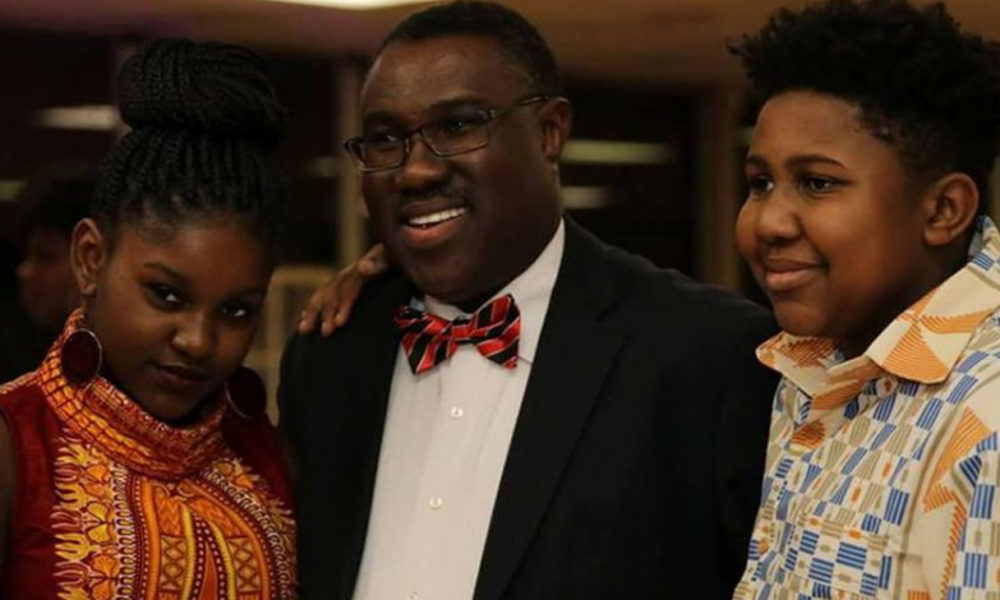 Markwei Boye, J.D (Center) with his children (Photo provided by Markwei Boyd)