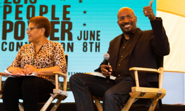 Keynote speaker Van Jones giving L.A. residents a thumbs up at the People Power Convention. (Photo by: Jordan Tucker | LA Sentinel)