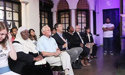Waiting on deck l-r; At-Large Candidates Zulfat Suara (2nd left), Gary Moore, Councilman Bob Mendez, Gicola Lane, Councilman Fabian Bedne, and Council member Burkley Allen