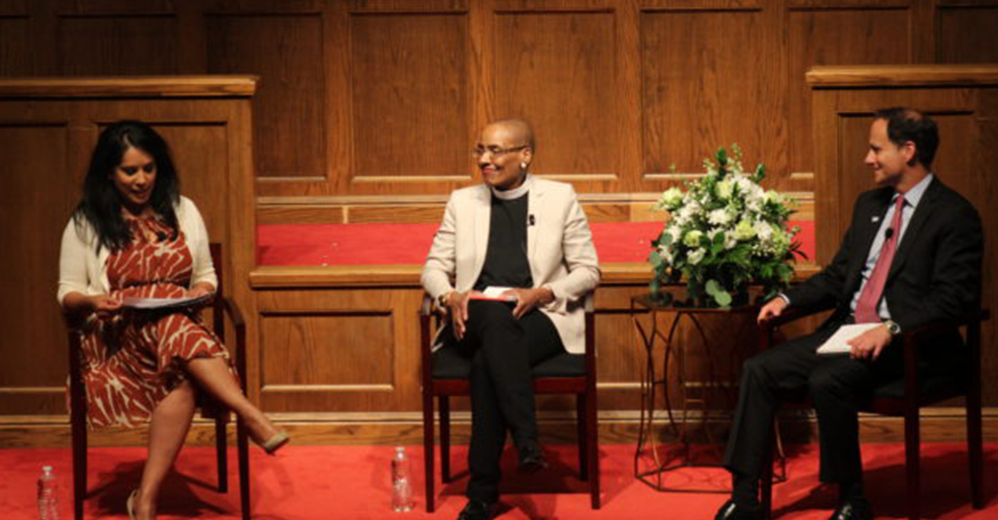 """(Left to right): Zeenat Rahman, Rev. Dr. Kelly Brown Douglas, and Rabbi Jonah Dov Pesner during the """"Religious Perspectives on Bridging Racial & Faith Divides"""" event Monday night at Sixteenth Street Baptist Church (Ameera Steward, The Birmingham Times)"""