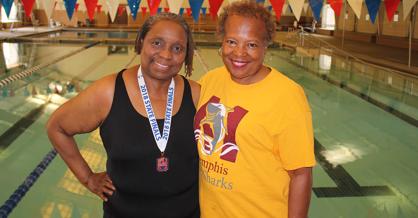 """Loretta Griffin (left), 68, trained for the Senior Olympics at the Bickford Aquatic Center with her coach Cynthia Dickerson. """"I just think she's a winner,"""" Dickerson said of Griffin. """"You don't find that in many people."""" (Photo: George W. Tillman Jr.)"""