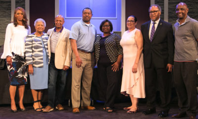 Hosted by Radio One's Lincoln Ware (third from left), the town hall's panelists included (left to right): Cincinnati Public Schools (CPS) Superintendent Laura Mitchell; NNPA National Chairman Dorothy R. Leavell; Lincoln Ware; NAACP Education Chair Treigg Turner; Cincinnati's Pre-School Promise executive Vanessa White; NNPA ESSA Awareness Campaign program director Dr. Elizabeth Primas; and NNPA President and CEO Dr. Benjamin F. Chavis, Jr. and State Senator Cecil Thomas.