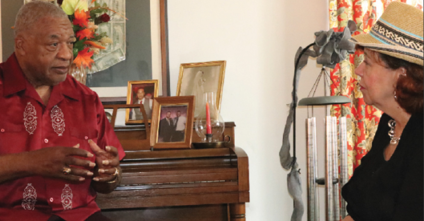 Publisher Brenda H. Andrews interviews Pastor E. Ray Cox (Photo by Ernest Lowery)