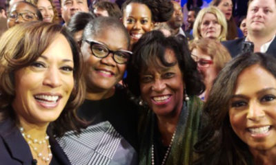 Melanie Campbell (second from left) poses with Sen. and 2020 Democratic presidential hopeful Kamala Harris and others after the second Democratic presidential debate in Miami on June 27. (Courtesy of Melanie Campbell)