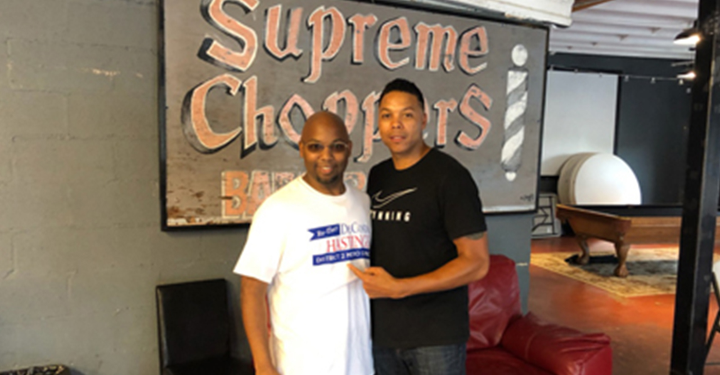 District 2 candidate Andre Southall (r) has suspended his campaign and endorsed Councilman DeCosta Hastings (l) for re-election.