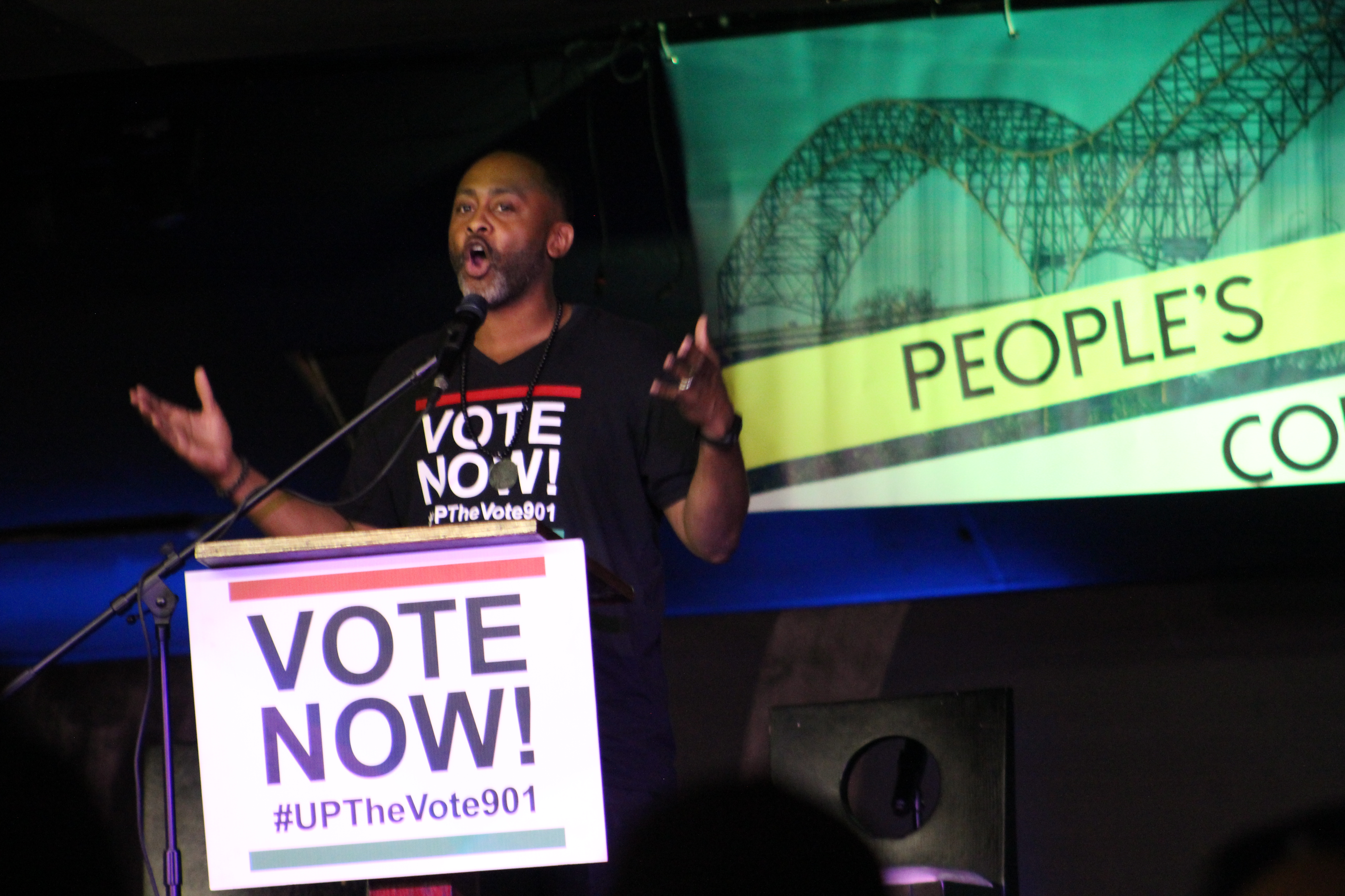 Rev. Dr. Earle Fisher, founder of #UPTheVote901, offers opening remarks at The People's Convention at the Paradise Entertainment Complex on Saturday, June 8. (Photo: Lee Eric Smith)