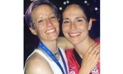 Megan Rapinoe with girlfriend, WNBA legend Sue Bird, after the USA Women's soccer team took home the World Cup. (Photo: Instagram – @mrapinoe)