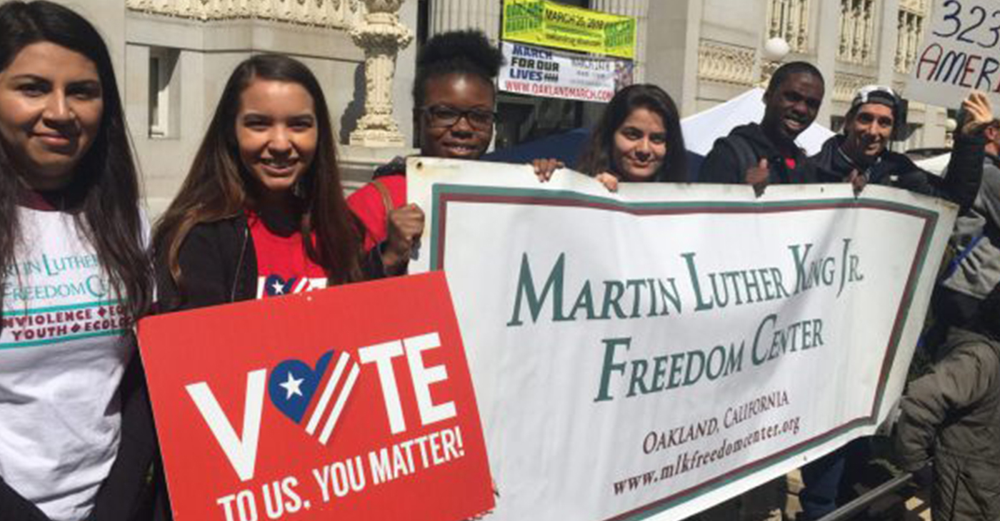 Participants in the statewide Youth and Civic Engagement Initiative learn how to organize community and encourage voter engagement. Photo courtesy of MLK Freedom Center.