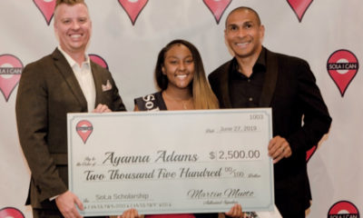 Martin Muoto, Founder and Managing Partner of SoLa Impact, and Gray Lusk, Co-founder and Managing Parter of SoLa Impact, with scholarship recipient Ayanna Adams. (Courtesy Photo)