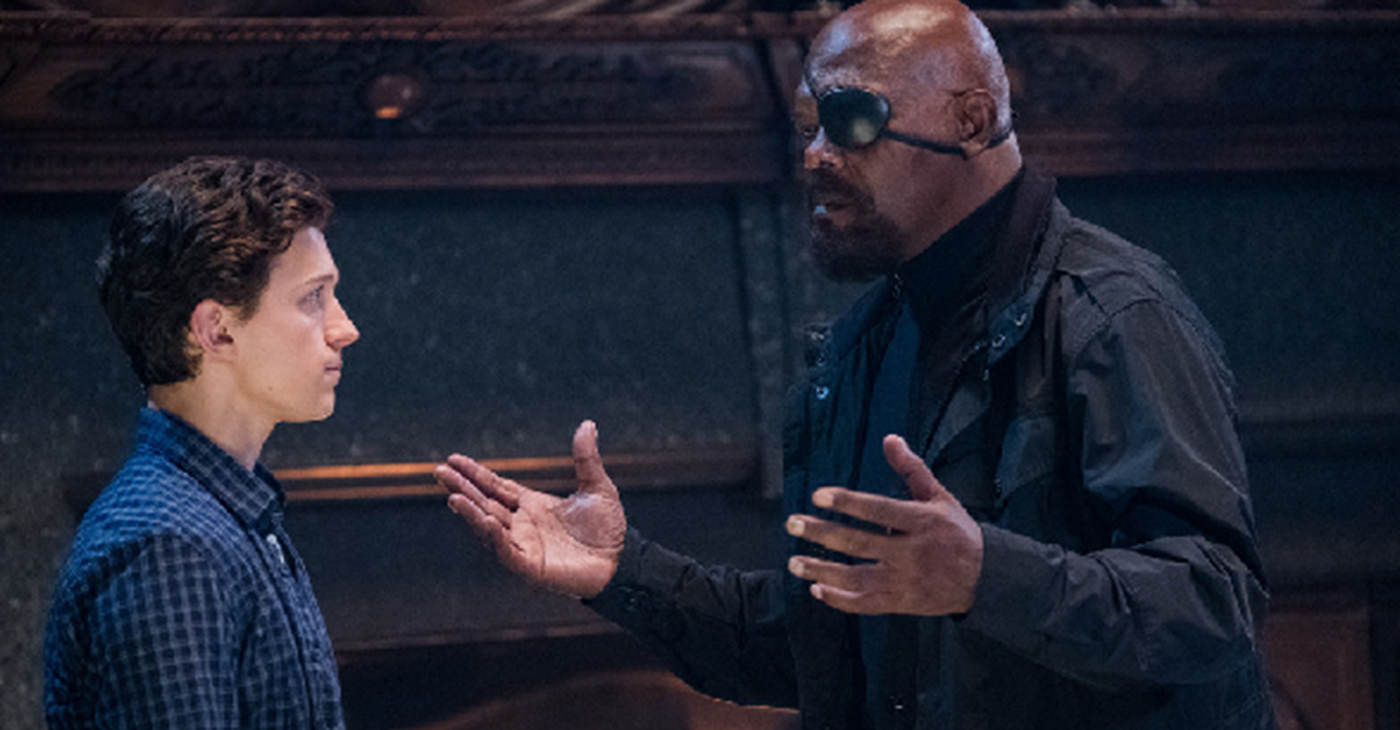 Tom Holland is Peter Parker aka Spider-Man and Samuel L. Jackson is Nick Fury in Spider-Man Far from Home.